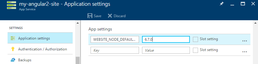 Azure configure node version