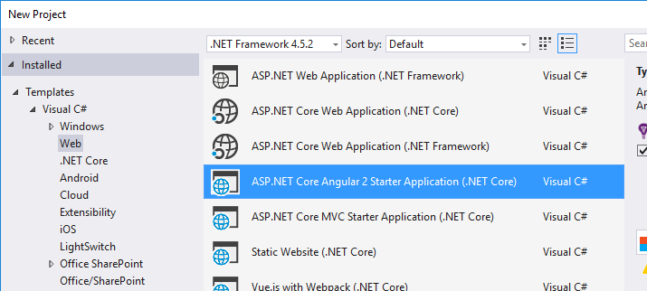 ASP NET Core + Angular 2 template for Visual Studio