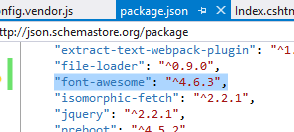 Font Awesome in package.json