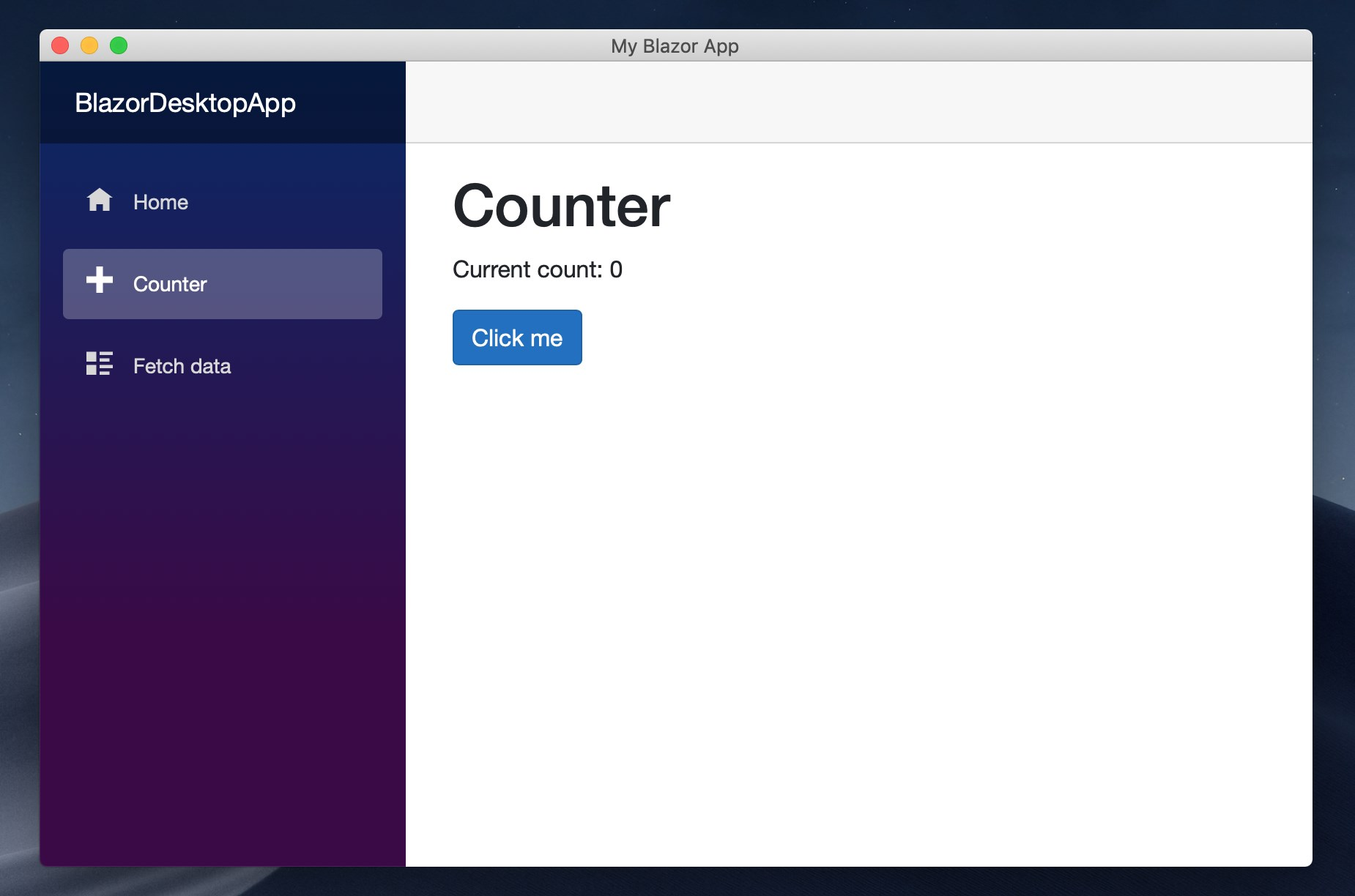 Blazor example on macOS